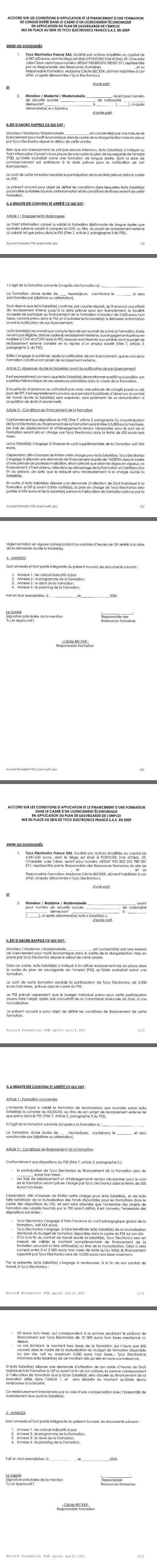 Accord unilattéral clabe/tyco formation PSE tef sas